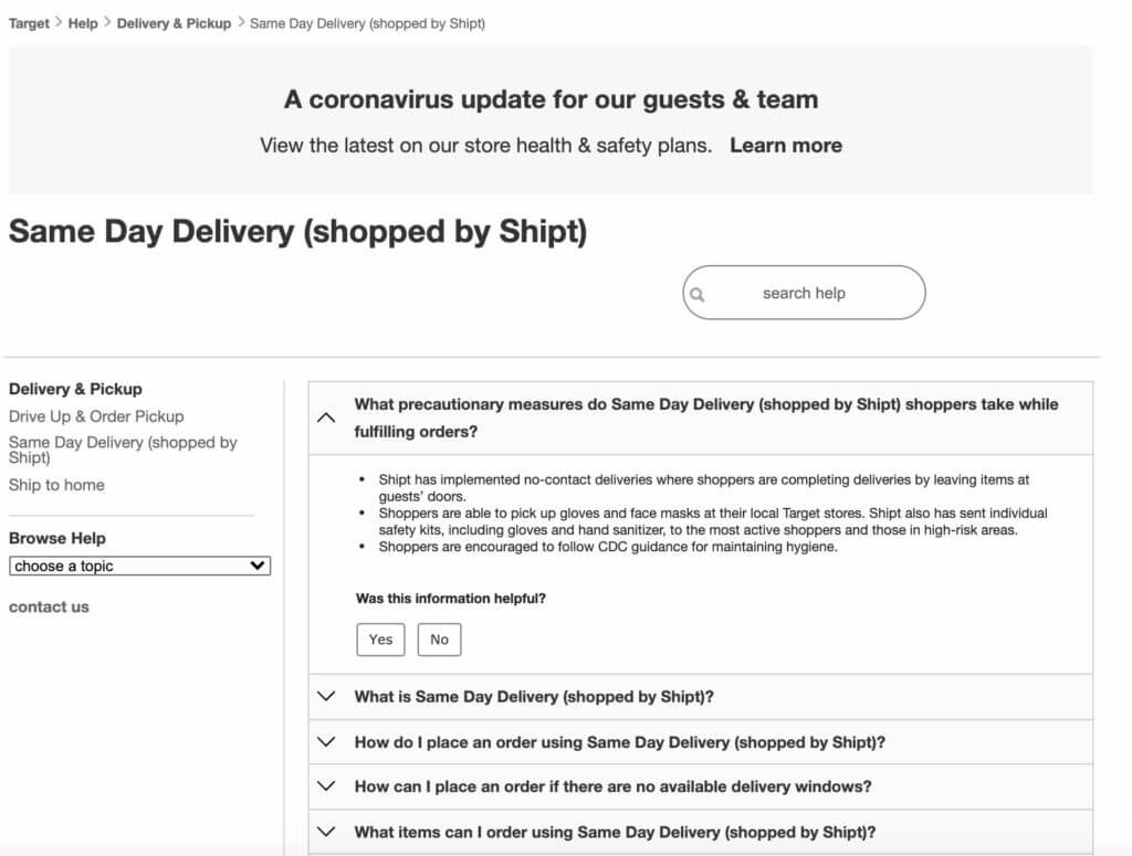 Screenshot of Shipt delivery (acquired by Target)