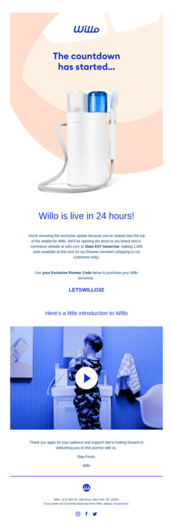 Willo product launch email