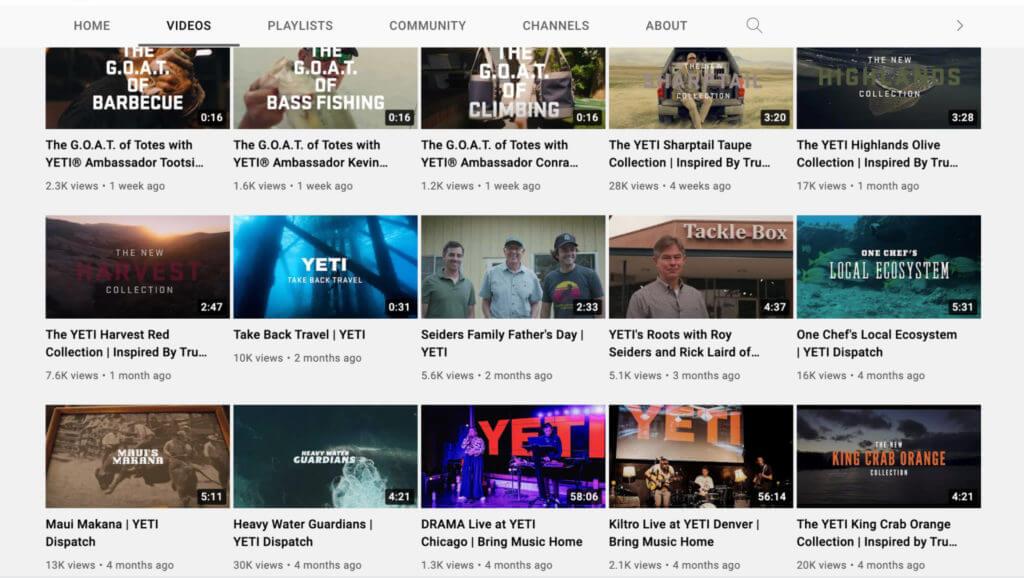Screenshot of Yeti's YouTube videos