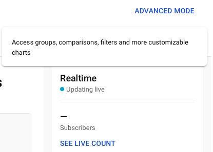 Screenshot of YouTube advanced mode