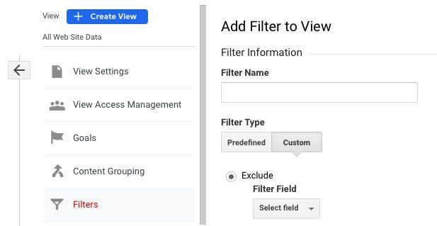Screenshot of Google Analytics view filter