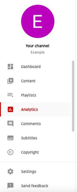 Screenshot of YouTube channel options