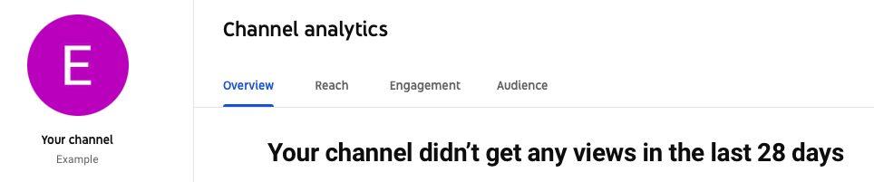 Screenshot of YouTube report tabs