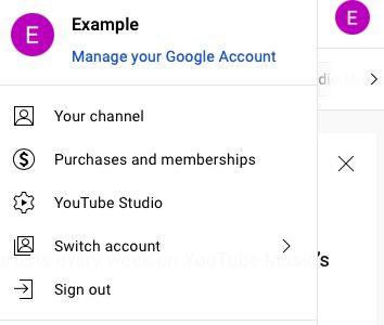 Screenshot of YouTube account menu