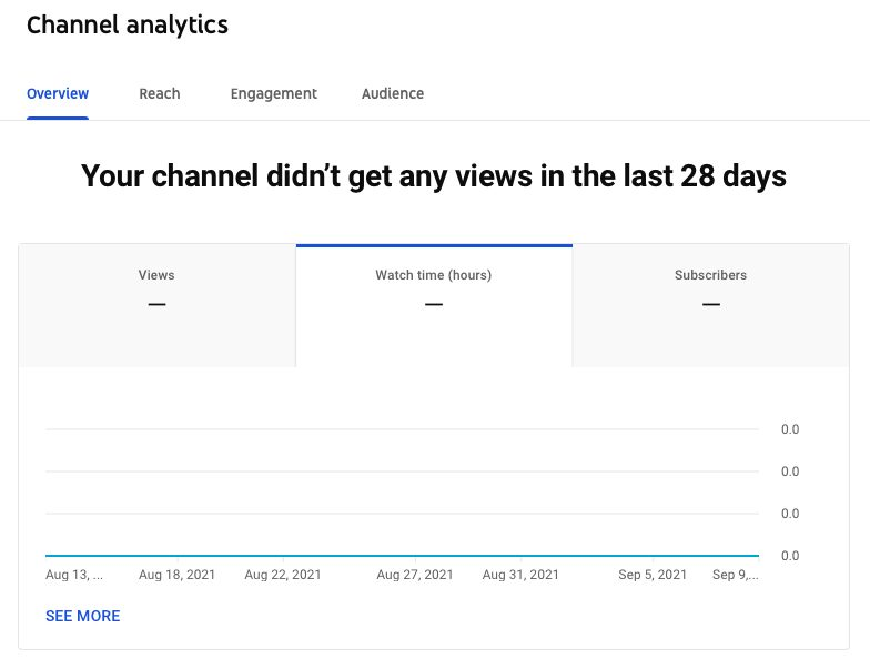 Screenshot of YouTube overview report