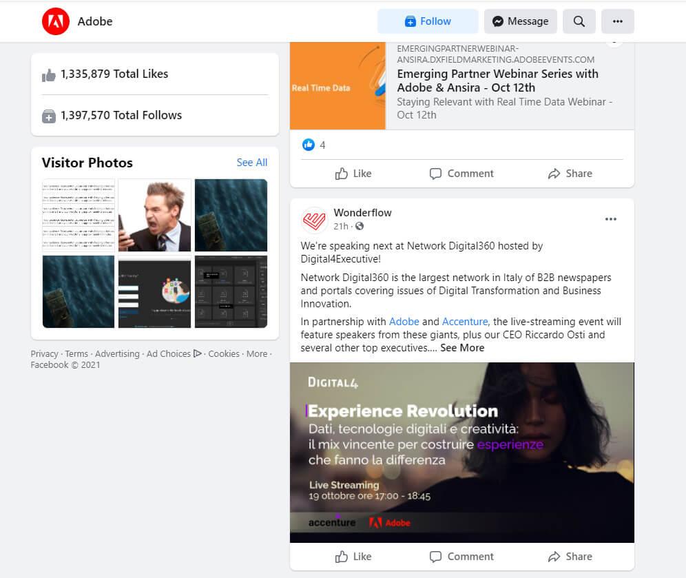 Screenshot of Adobe Facebook page