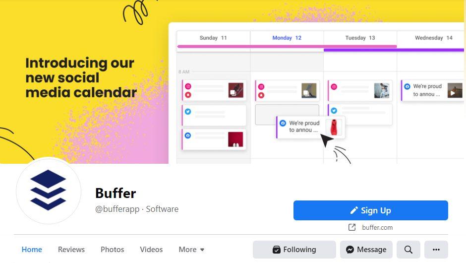 Buffer Facebook page screenshot