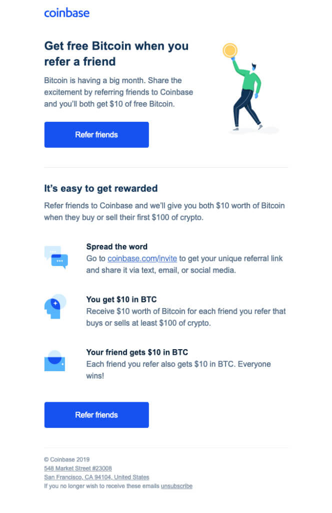Coinbase email example