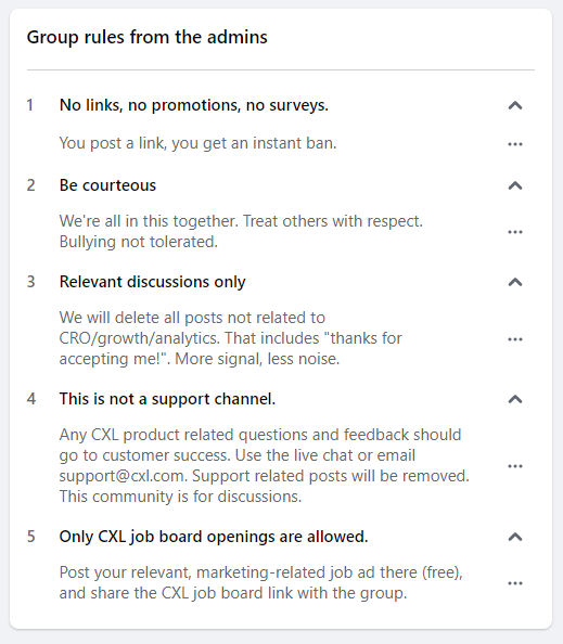 CXL Facebook group rules