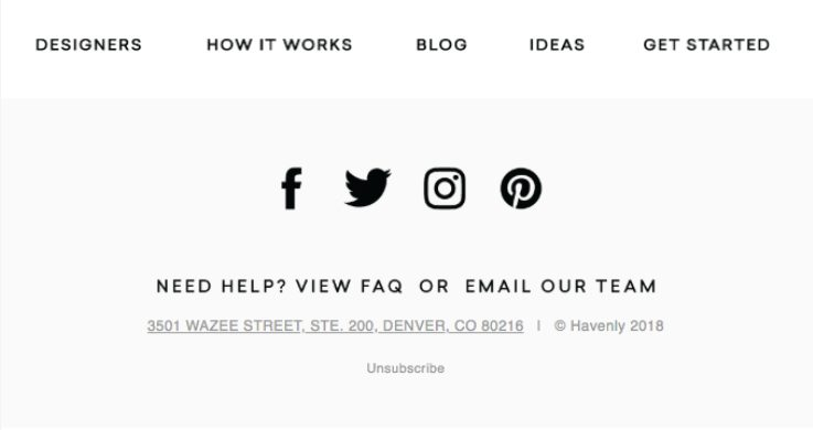 Havenly email example