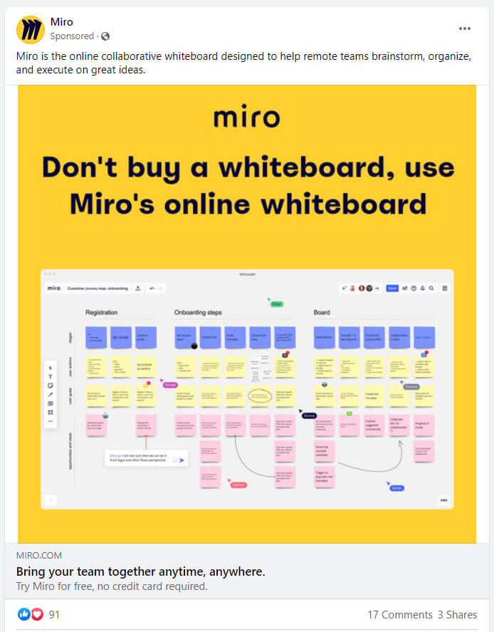 Miro Facebook ad example
