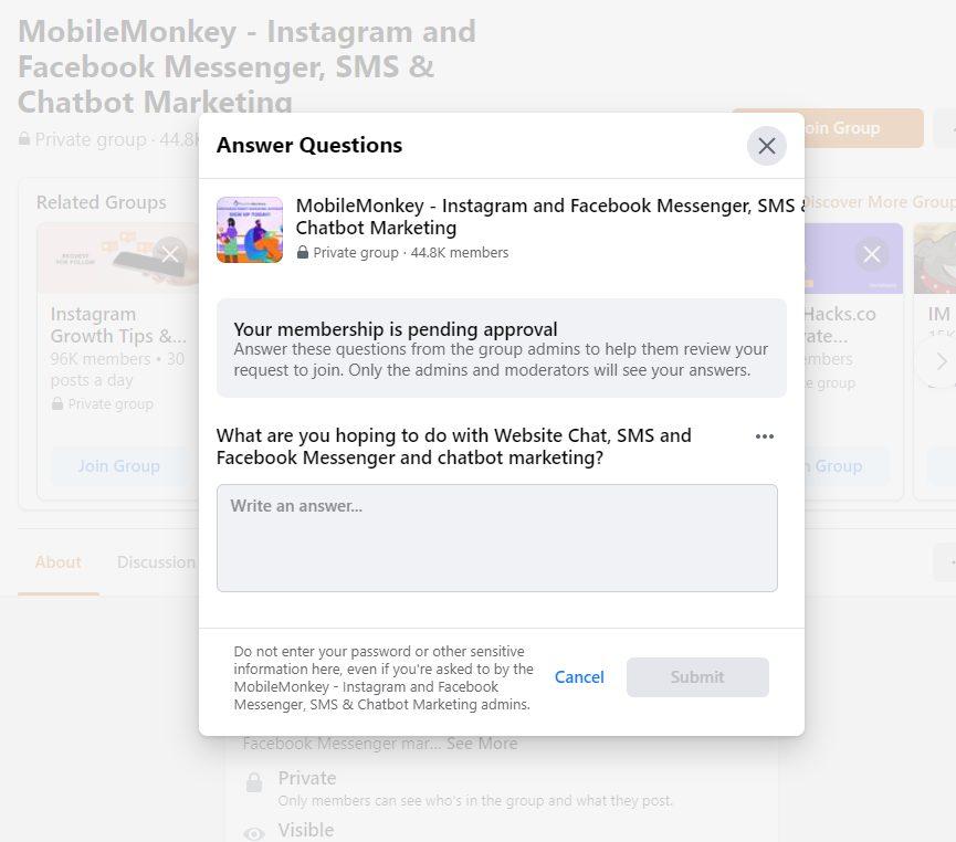 MobileMonkey Facebook group survey quesitons