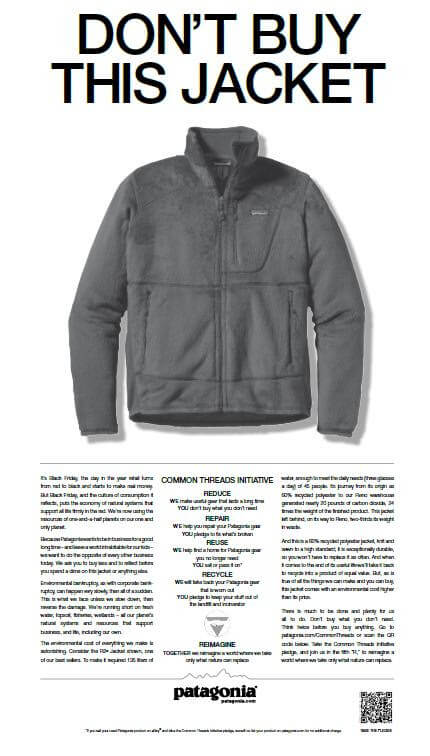 """Patagonia's """"Don't Buy This Jacket"""" campaign"""