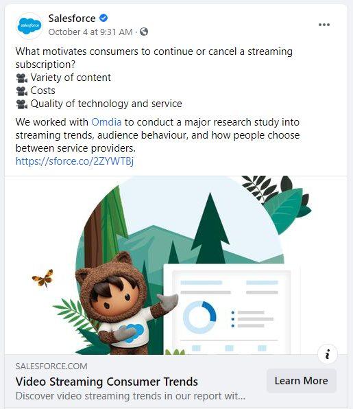 Salesforce Facebook post example