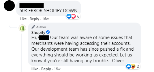 Facebook comments interaction with Shopify