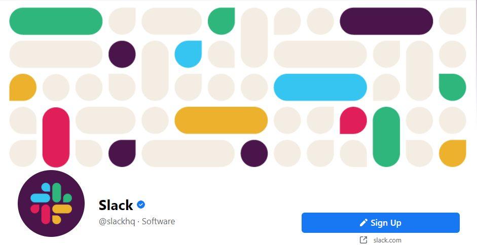 Slack Facebook page screenshot