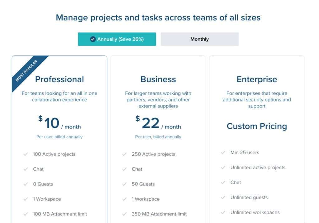 Example of a pricing page from Taskworld